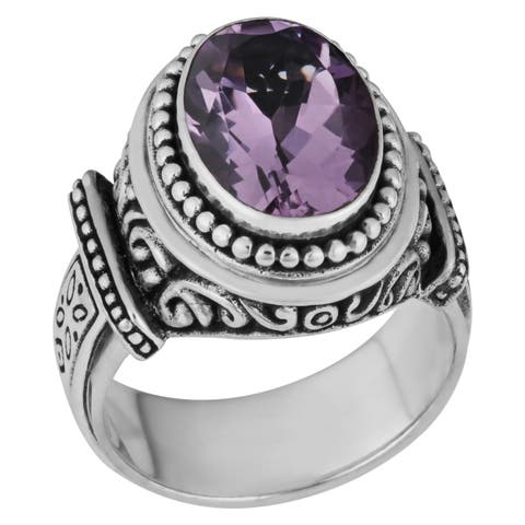 Handmade Sterling Silver Amethyst Cawi Ring (Indonesia) - Purple