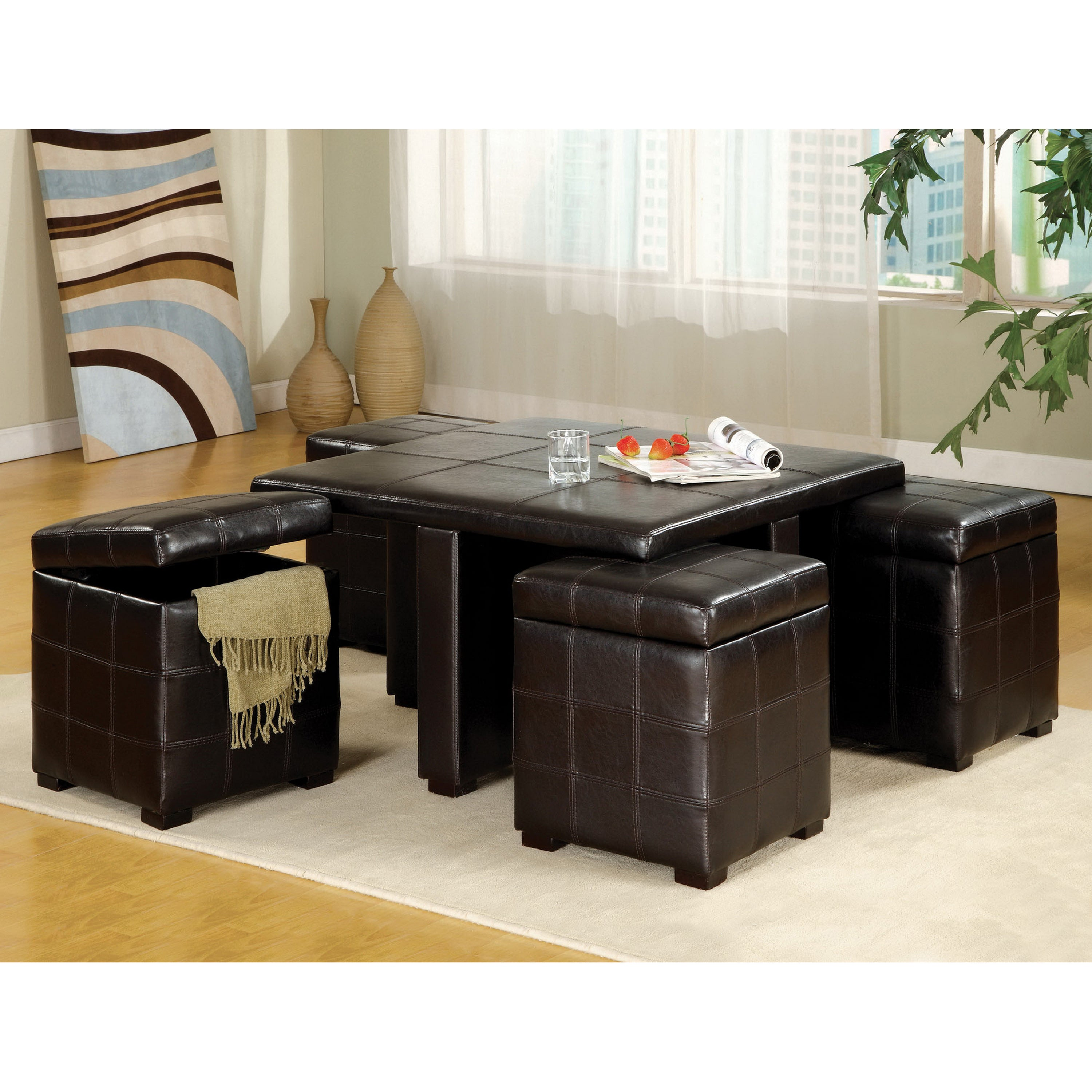 Furniture Of America Espresso 5 Piece Tail Table And Ottoman Set