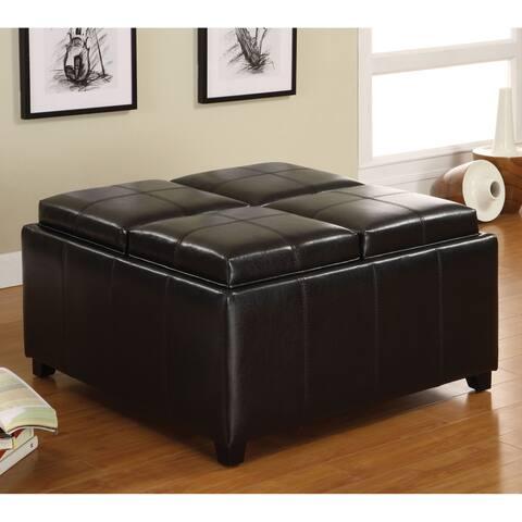 Furniture of America Doto Contemporary Espresso Storage Ottoman