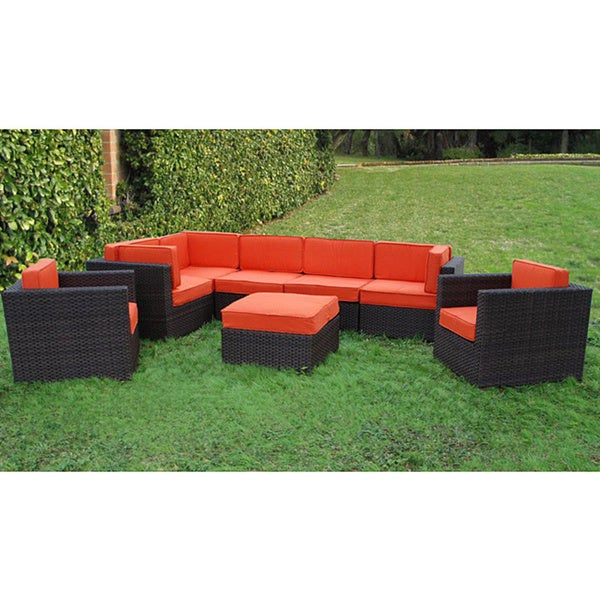 Atlantic Siena 8 Piece Patio Set With Orange Cushions