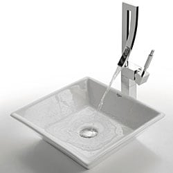 KRAUS Flat Square Ceramic Vessel Bathroom Sink in White with Pop-Up Drain in Chrome