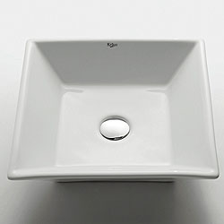 KRAUS Flat Square Ceramic Vessel Bathroom Sink - Thumbnail 0