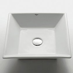 KRAUS Flat Square Ceramic Vessel Bathroom Sink