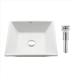 Kraus KCV-125 Elavo 16 Inch Square Vessel Porcelain Ceramic Vitreous Bathroom Sink in White, Pop Up Drain optional
