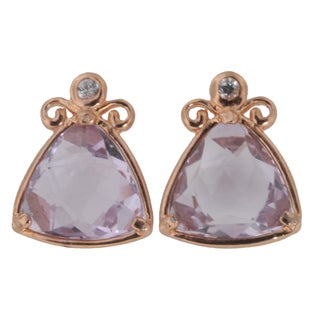 Michael Valitutti Silver Pink Amethyst Earrings