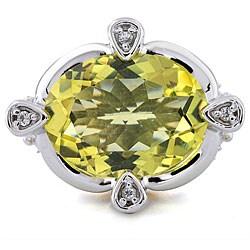 Michael Valitutti Silver Ouro Verde and White Sapphire Ring