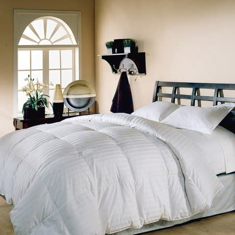 Hotel Grand Oversized Damask Stripe White Down Comforter