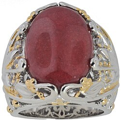 Michael Valitutti Palladium Silver Dyed Red Jade/ Sapphire Ring