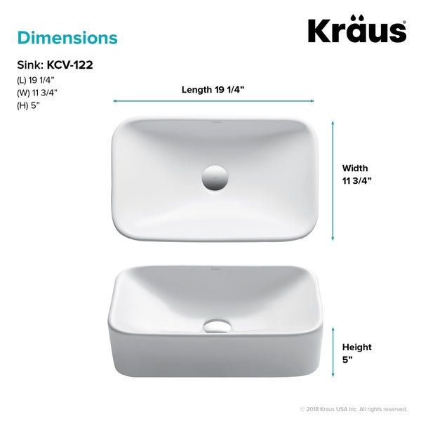 Kraus Elavo 19 inch Rectangle Porcelain Ceramic Vessel Bathroom Sink