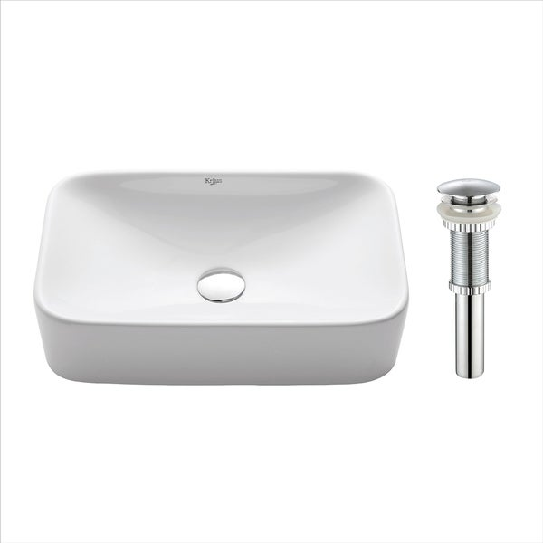 Kraus KCV-122 Elavo 19 Inch Square Vessel Porcelain Ceramic Vitreous Bathroom Sink in White with Pop Up Drain Chrome