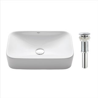 KRAUS Soft Rectangular Ceramic Vessel Bathroom Sink