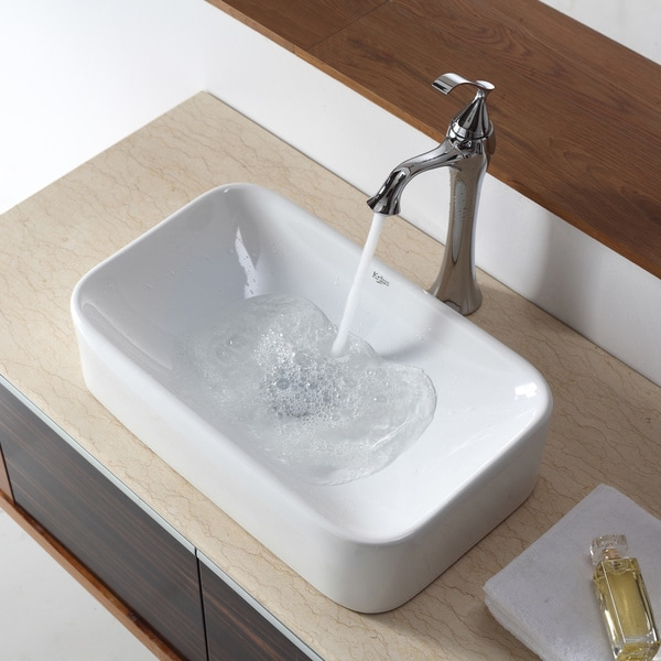 KRAUS Soft Rectangular Ceramic Vessel Bathroom Sink in White with Pop-Up  Drain in Chrome