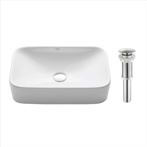 Kraus KCV-122 Elavo 19 Inch Square Vessel Porcelain Ceramic Vitreous Bathroom Sink in White, Pop Up Drain optional