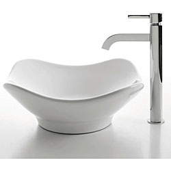 KRAUS Tulip Ceramic Vessel Bathroom Sink in White with Pop-Up Drain in Chrome