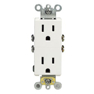 Leviton M24-05325-WMP White Residential Grade Straight Blade Duplex Receptacle (Pack of 10)