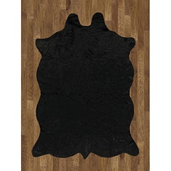 Animal Hide Black Acrylic Rug (5' x 7')