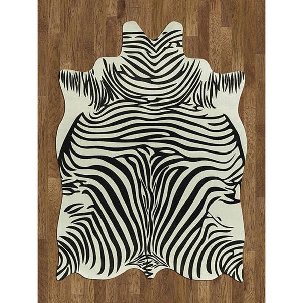Shop Zebra Hide Polyproplene Rug 5 X 7 Free Shipping