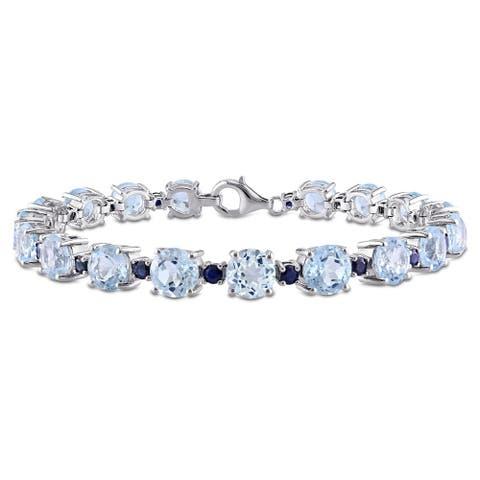 Miadora Sterling Silver Blue Topaz and Sapphire Bracelet