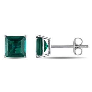 Miadora 10k White Gold Created Emerald Solitaire Earrings