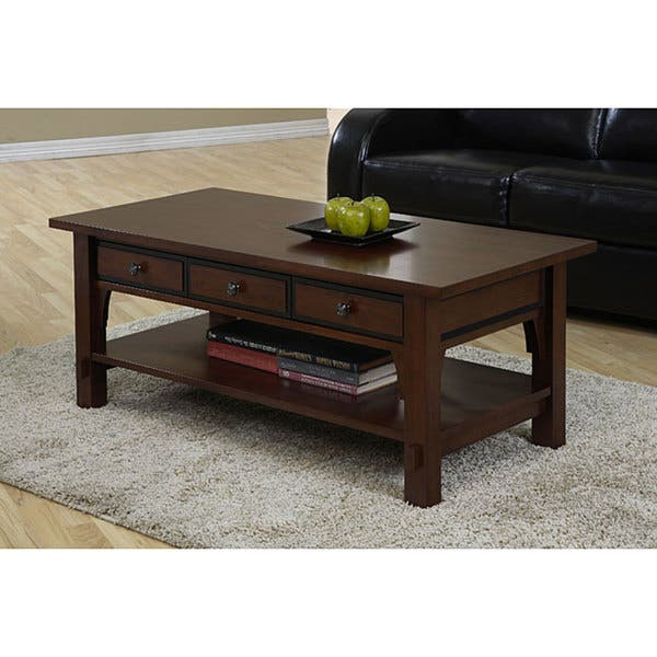 Shop Copper Grove Talisman 3 Drawer Coffee Table Free Shipping