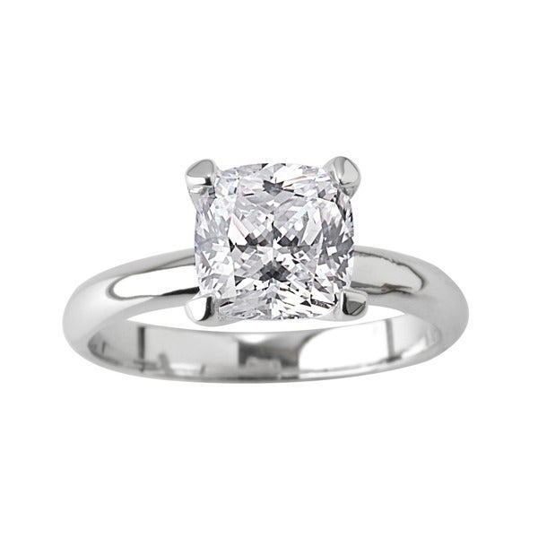 NEXTE Jewelry Silvertone Cushion CZ Bridal-inspired Solitaire Ring