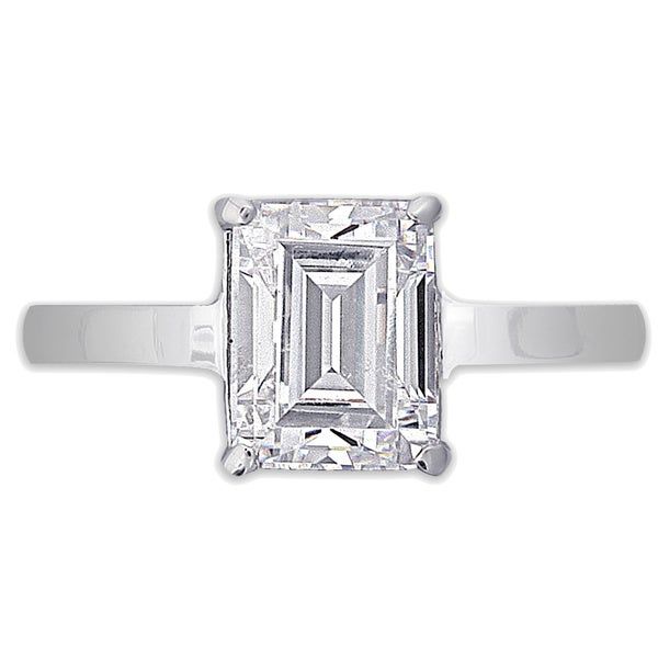 NEXTE Jewelry Rhodium-plated Emerald-cut Cubic Zirconia Ring