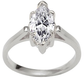 NEXTE Jewelry Silvertone Marquise CZ Bridal-inspired Solitaire Ring