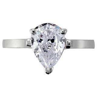 NEXTE Jewelry Rhodium-plated Pear-shaped Diamond Ring