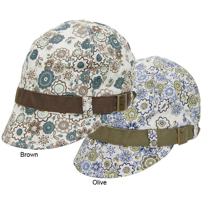 Adi Designs Women's Floral Print Contrast Band Patty Hat