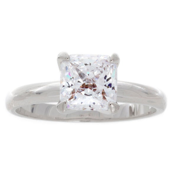 NEXTE Jewelry Silvertone Princess CZ Bridal-inspired Solitaire Ring