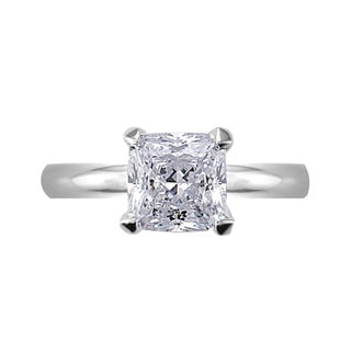 Link to NEXTE Jewelry Silvertone Princess CZ Bridal-inspired Solitaire Ring Similar Items in Rings