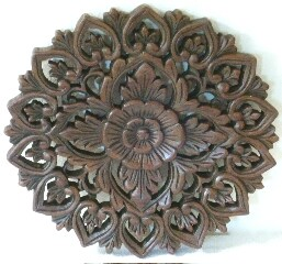 Teak Wood Medium Lotus Carving (Thailand)
