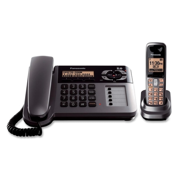 Panasonic DECT 6.0 1.90 GHz Cordless Phone - Metallic Gray, Black