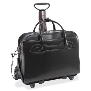 McKlein Willowbrook Black Detachable-Wheeled Rolling 17-inch Laptop Briefcase