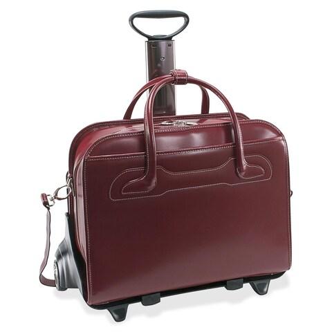 McKlein Willowbrook Red Detachable-Wheeled Rolling 17-inch Laptop Briefcase