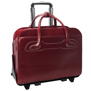 McKlein Willowbrook Red Detachable-Wheeled Rolling 17-inch Laptop Briefcase