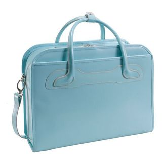 McKlein Willowbrook Blue Detachable-Wheeled Rolling 17-inch Laptop Briefcase
