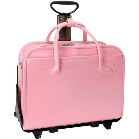 McKlein Willowbrook Pink Detachable-Wheeled Rolling 15-inch Laptop Briefcase