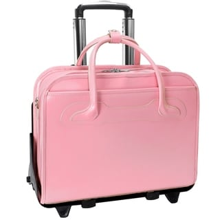 McKlein Willowbrook Pink Detachable-Wheeled Rolling 17-inch Laptop Briefcase