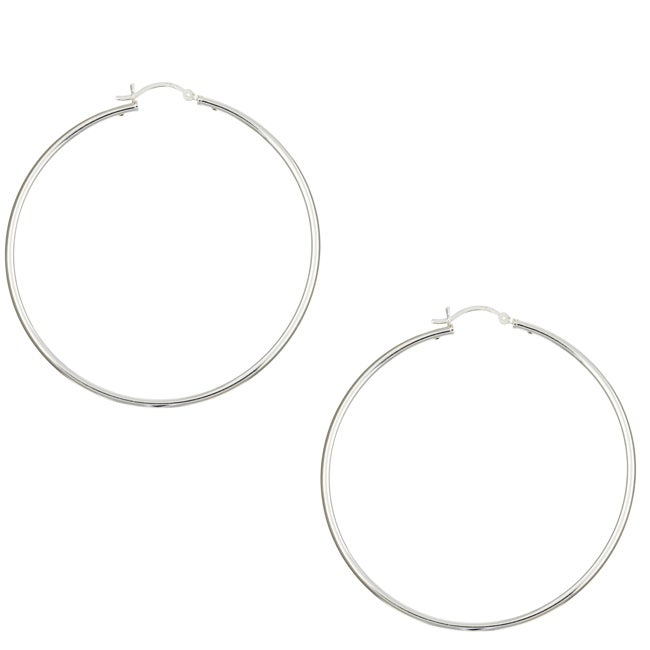 Sterling Essentials Sterling Silver 2.25-inch x 2mm High Polish Hoop Earrings - Thumbnail 0
