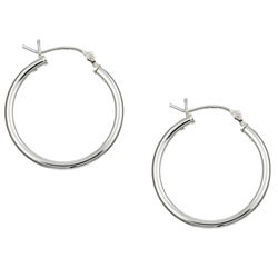 Sterling Essentials Sterling Silver 24mm x 2mm Hoop Earrings