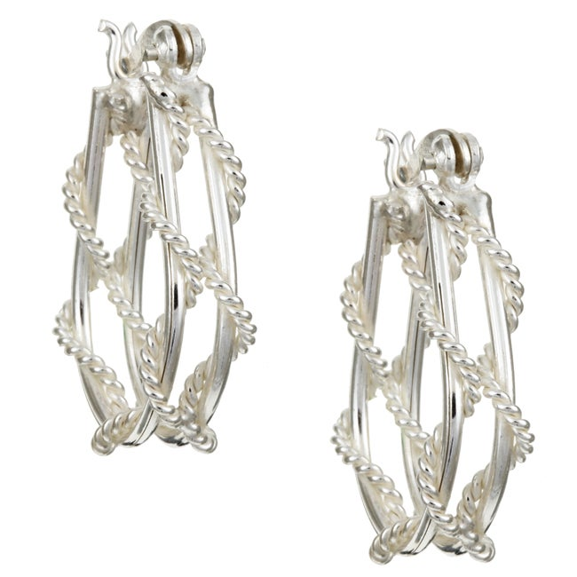 Sterling Essentials Sterling Silver Rope Hoop Earrings