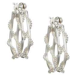 Sterling Silver Rope Hoop Earrings