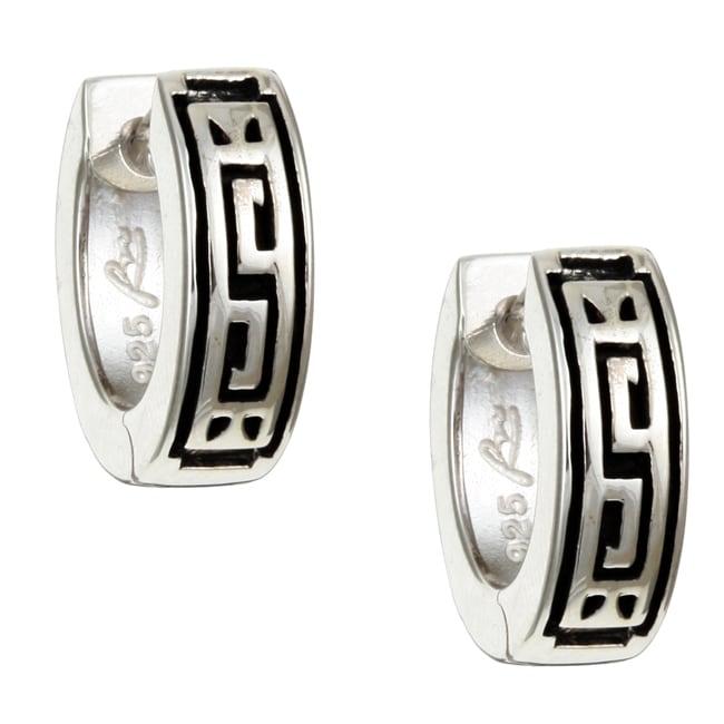 Roberto Martinez Sterling Silver Greek Key Hoop Earrings