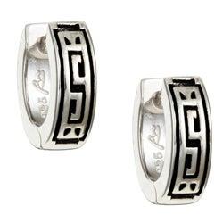 Sterling Essentials Sterling Silver Greek Key Hoop Earrings