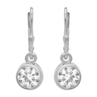 Sterling Silver Round Cubic Zirconia Dangle Earrings