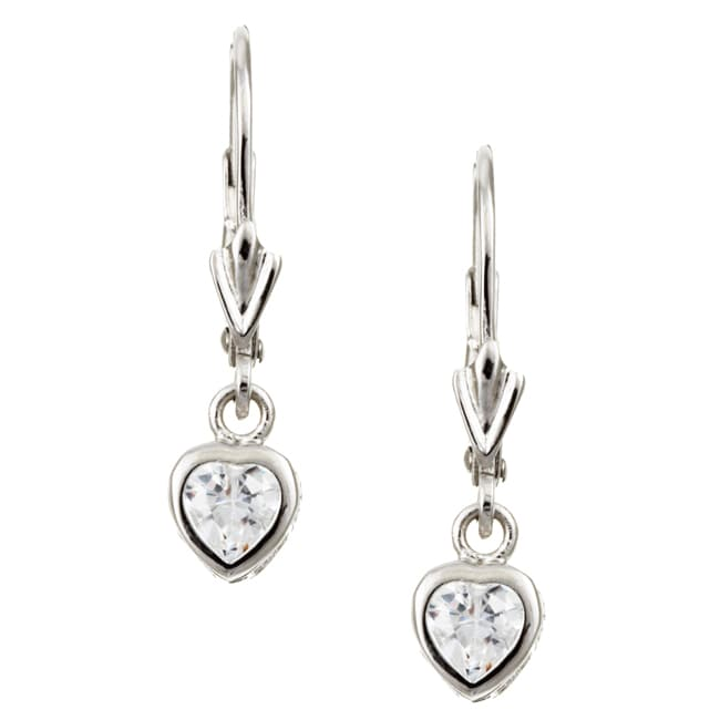 Roberto Martinez Sterling Silver 6 5 Mm Cubic Zirconia Heart Earrings