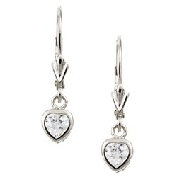 Sterling Essentials Sterling Silver 6.5-mm Cubic Zirconia Heart Drop Earrings