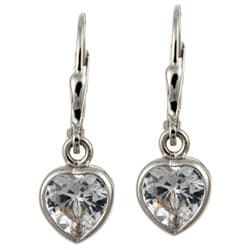 Sterling Silver 8.5-mm Cubic Zirconia Heart Drop Earrings