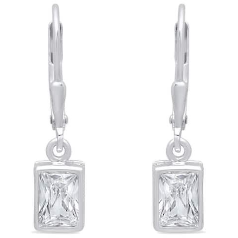 Roberto Martinez Sterling Silver Emerald-cut Cubic Zirconia Drop Earrings